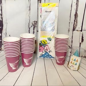 Poppytalk pink party cups hats napkin paper caddy